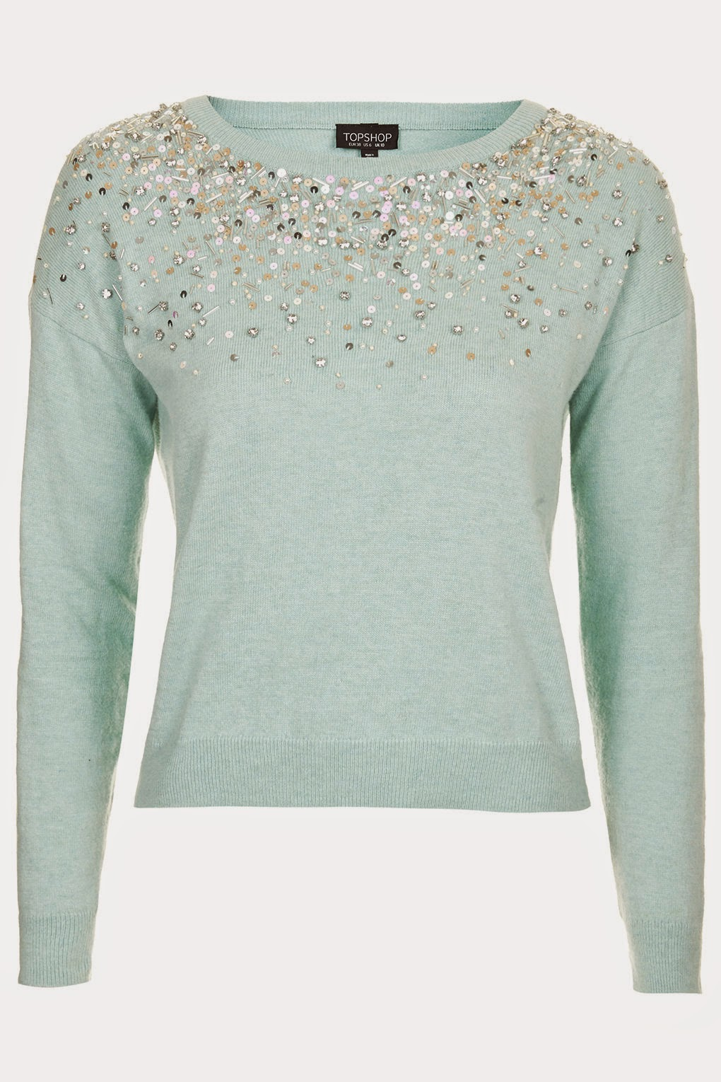 mint green jumper with sequins, sequin pastel jumper,