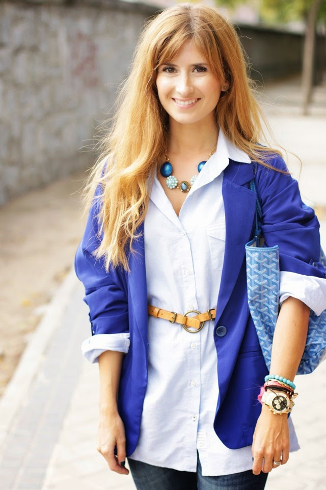 Blue blouse and Goyard Bag