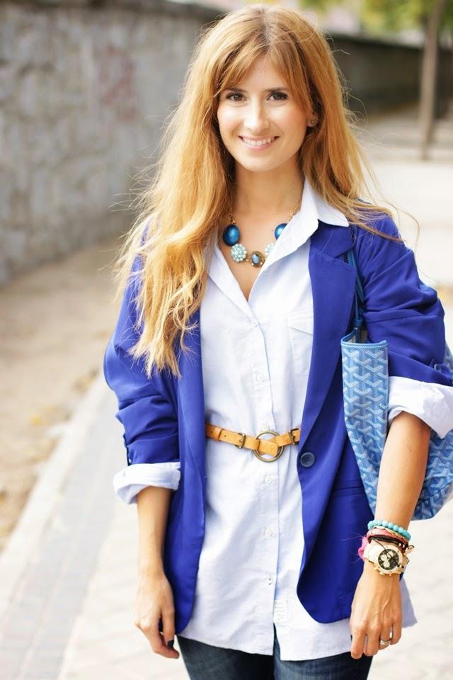 Blue blouse and Goyard Bag