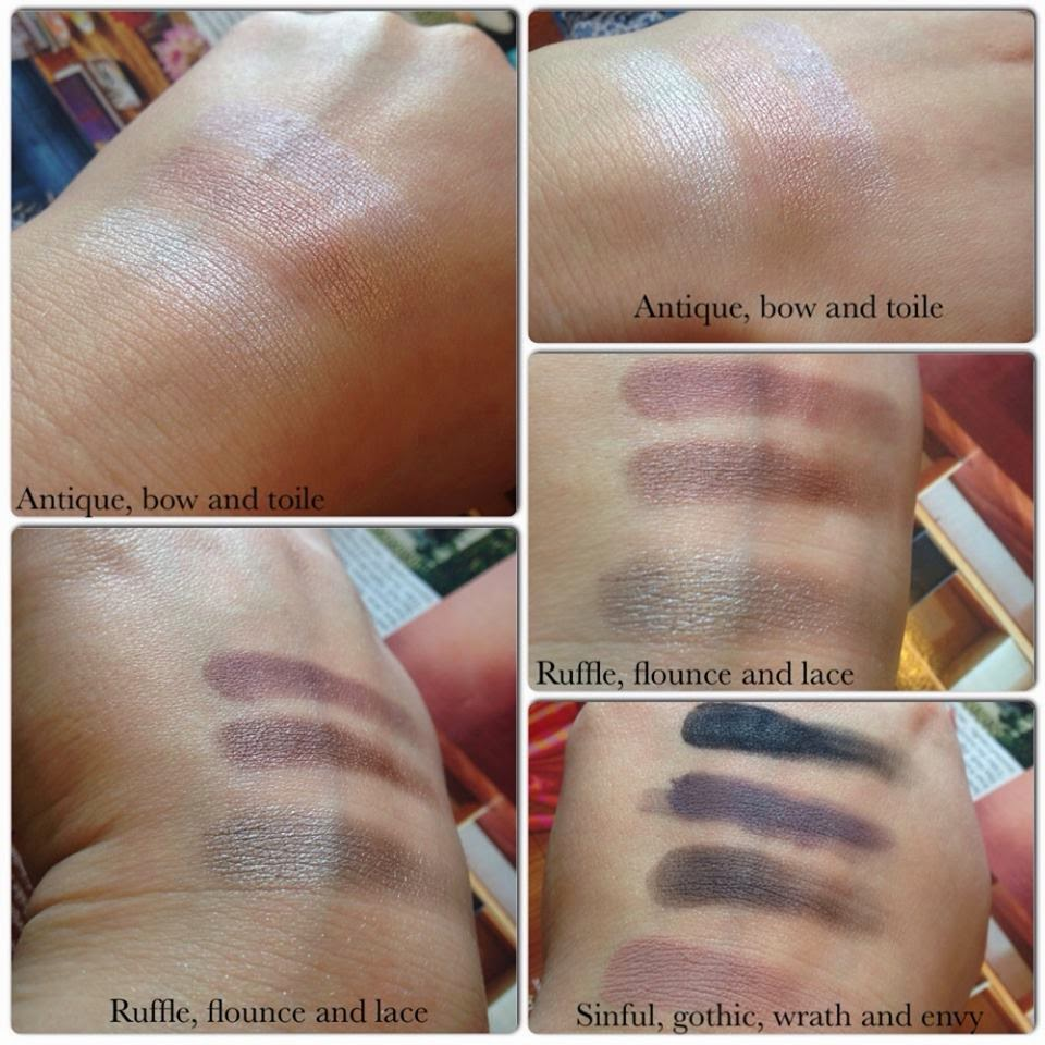 MUA pretty edgy eyeshaow palette swatches