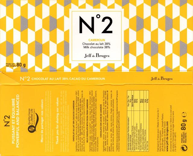 tablette de chocolat lait dégustation jeff de bruges n° 2 cameroun lait 38