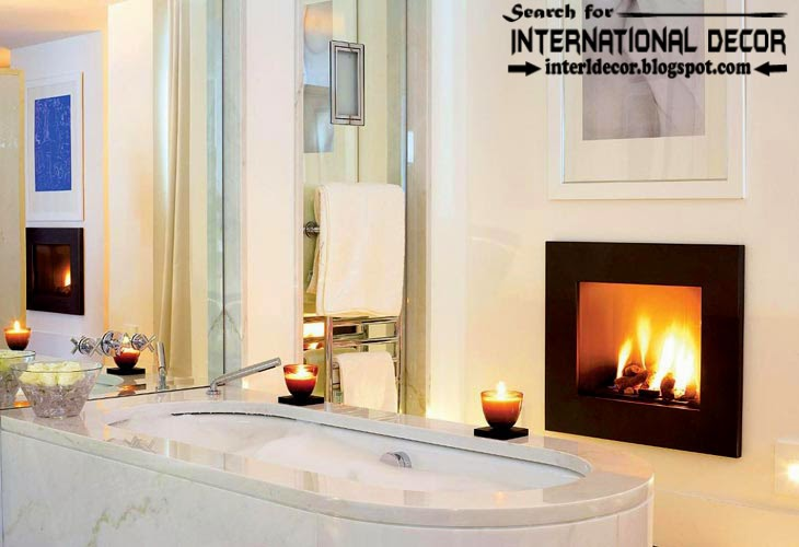 Cozy Interior bathroom with fireplace designs ideas, electric fireplace in bathroom