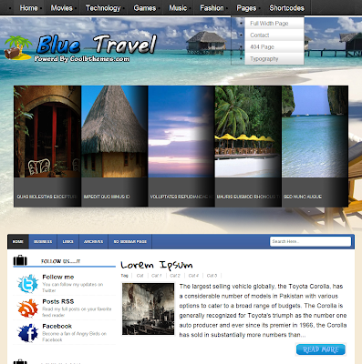 Blue Travel Blogger Theme