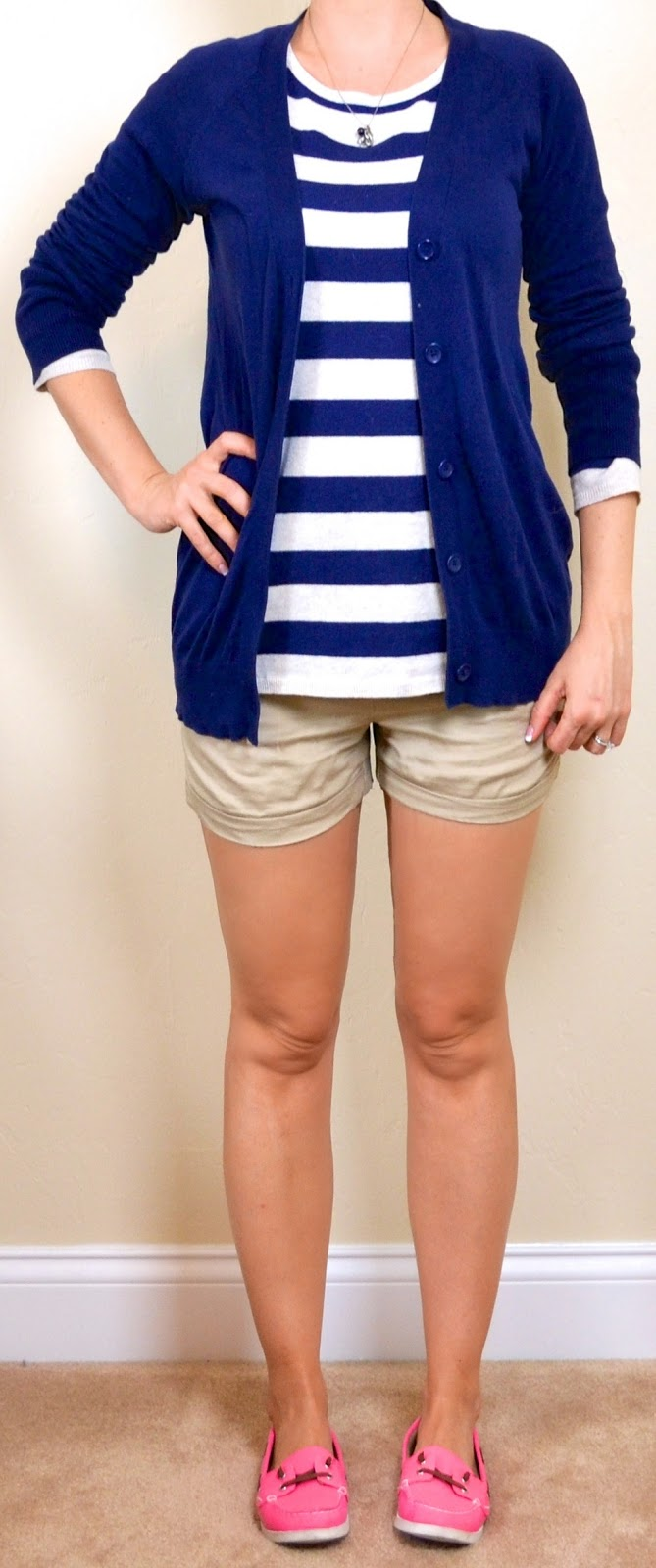 Outfit post striped sweater khaki shorts navy boyfriend cardigan pink boat shoes | Outfit Posts