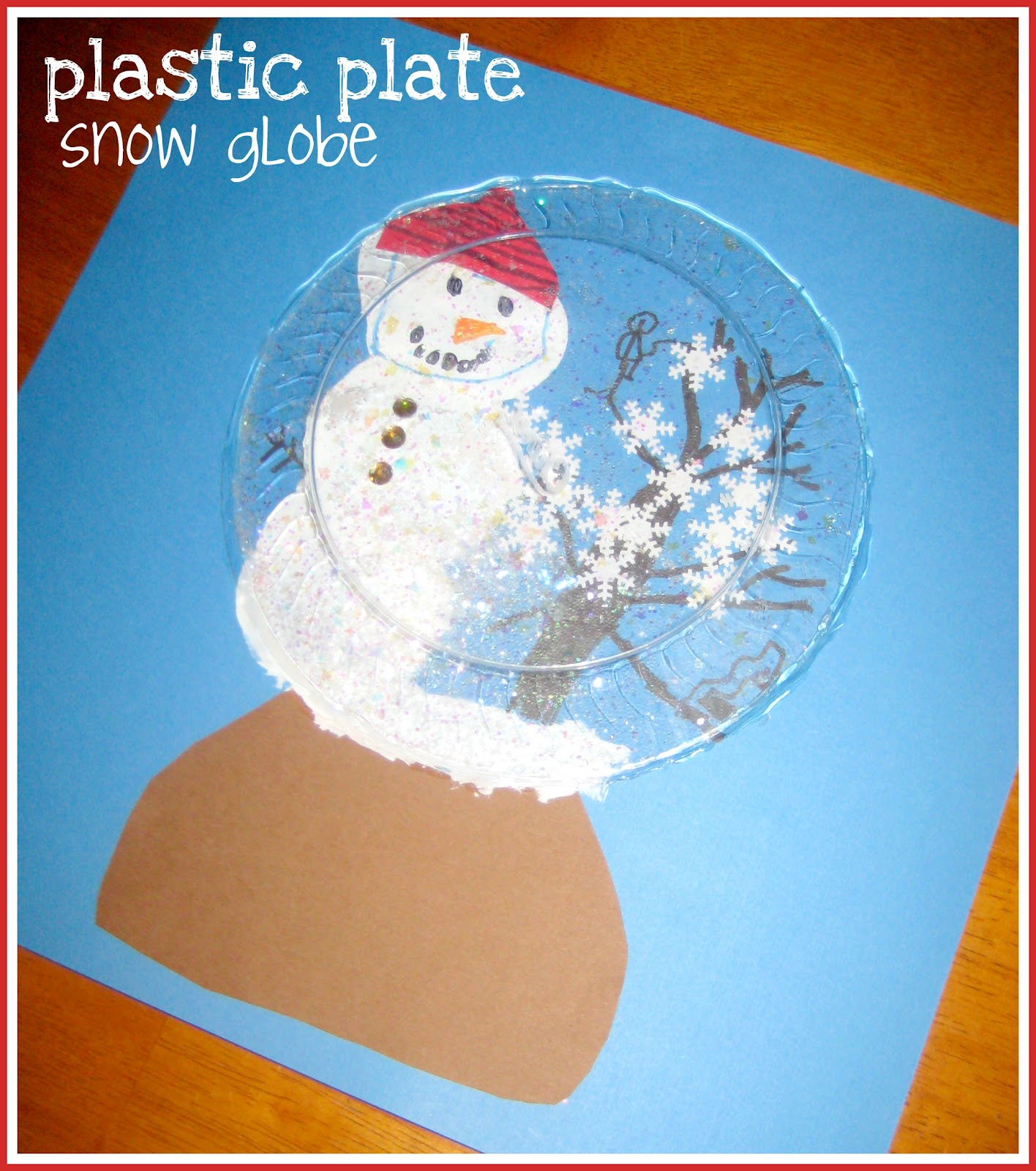 Plastic plate snowman snow globe educational toys for for Snow globe craft for kids