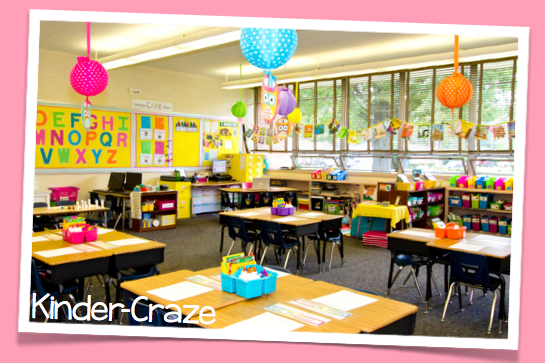 brightly and cheery kindergarten classroom