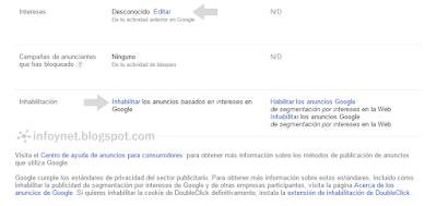 Configuración de anuncios de Google: intereses