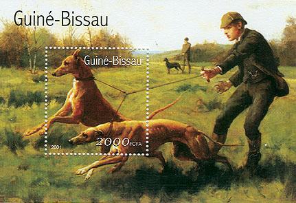 2001年ギニアビサウ共和国 グレーハウンドの切手シート