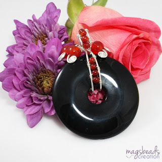 Black Onyx Donut Pendant by MagsBeadsCreation - magsbeadscreation.com