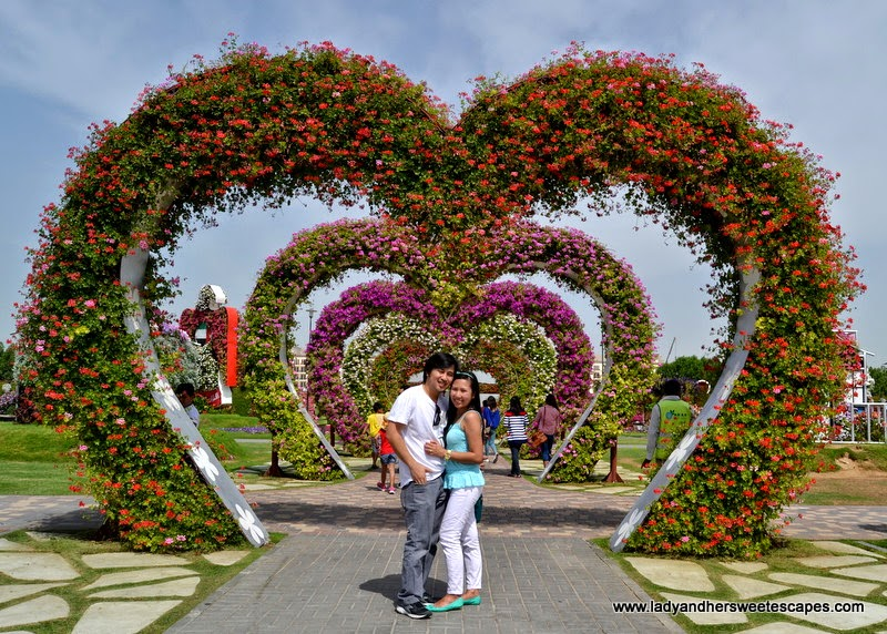 floral heart arch at Dubai Miracle Garden