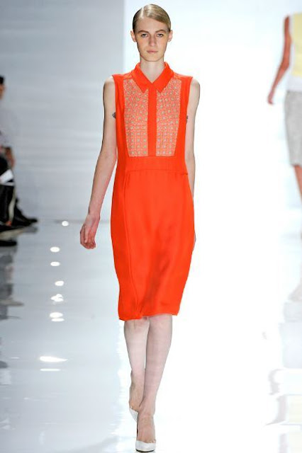 Sleeveless Orange Dress with Embroidered Inset