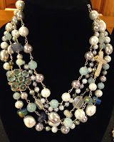 Necklace of the Month-The Donna necklace with vintage Austrian crystal brooch.