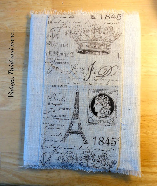 Vintage, Paint and more... adding embellishments to a drop cloth covered notebook