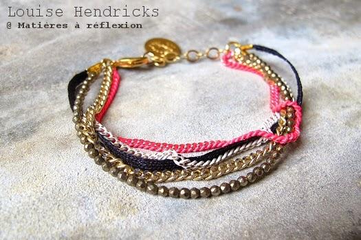 Bijoux Louise Hendricks bracelet chaîne rose doré blanc