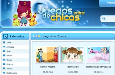 Los sitios con grandes colecciones de juegos están en continua expansión. En la imagen, página principal de juegosdechicasonline.com