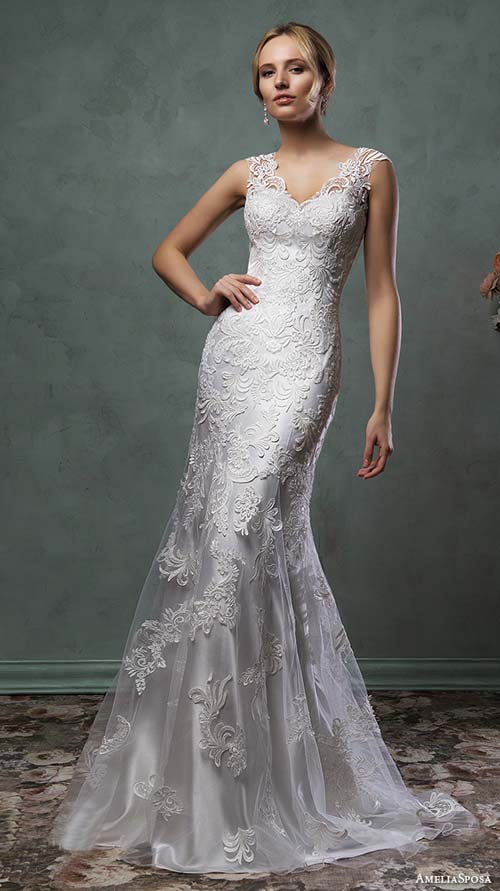 ball gown, cap sleeves, champagne gold, illusion neckline, illusion sleeves, italy, label: Amelia Sposa, label: AmeliaSposa, long sleeves, mermaid, off-shoulder, sheath, sleeveless, sleeves, strapless, week: 282015, year: 2016
