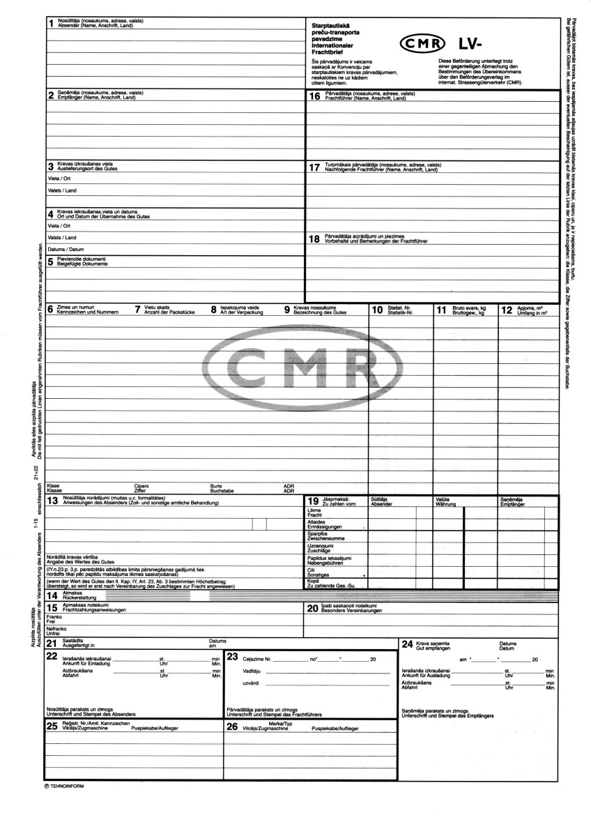 cmr transport document template