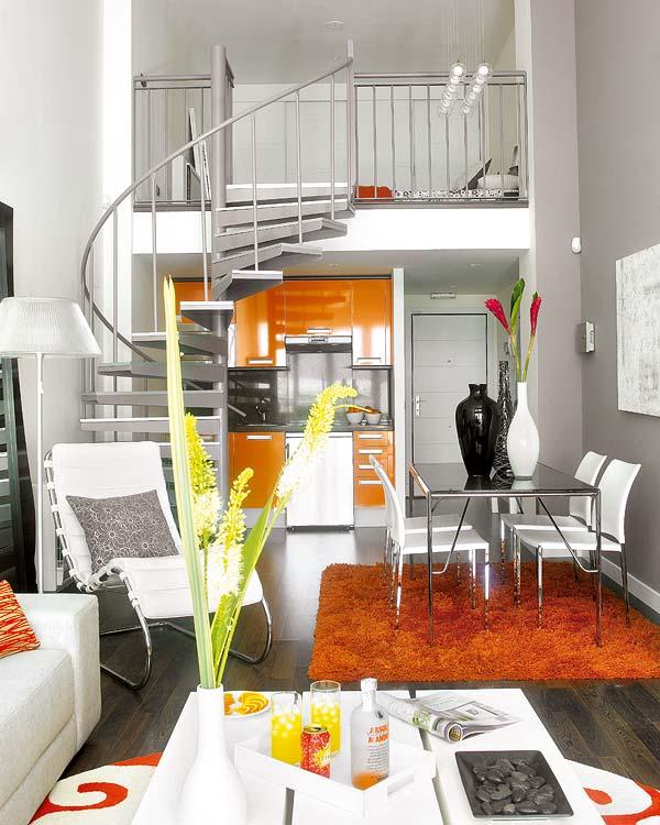 Interior] living in orange: pequeño y moderno loft de diseño ...