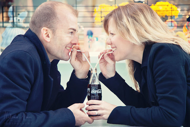 engagement photoshoot with coke