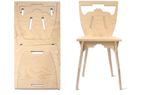 Una silla de madera que se monta como un puzzle espacios - Contrachapado de madera ...