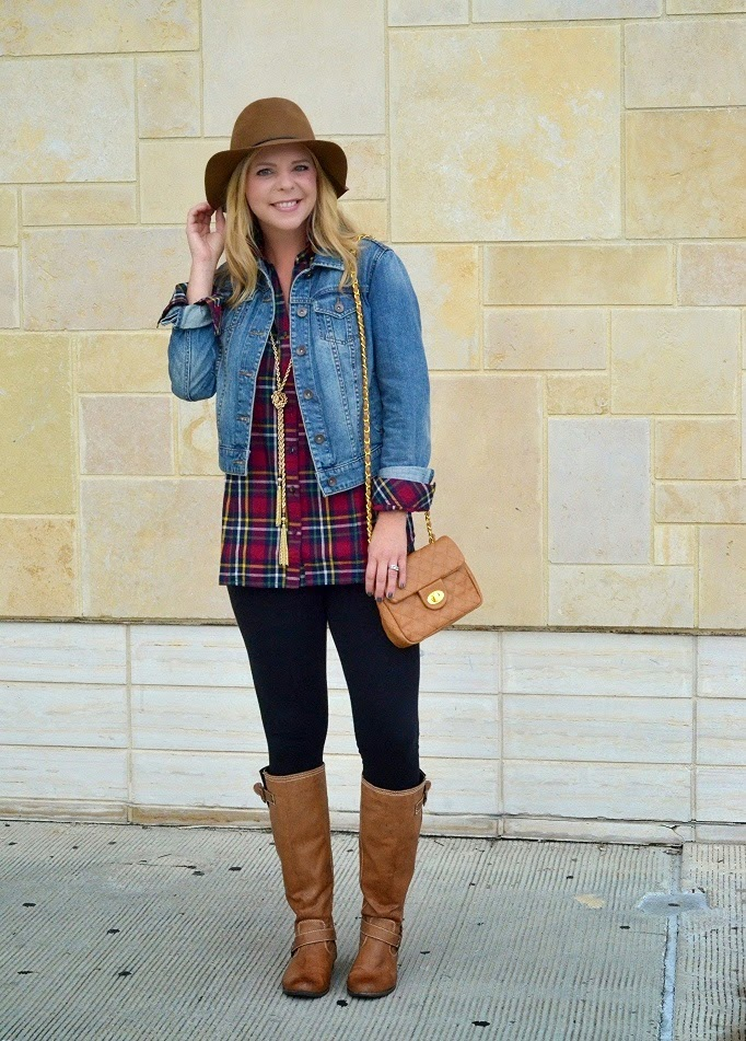Golden Tote PLaid Top with Denim Jacket and Riding Boots - Rustic Style