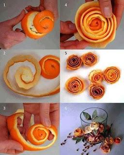 Como hacer Flores con Cascaras de Naranja
