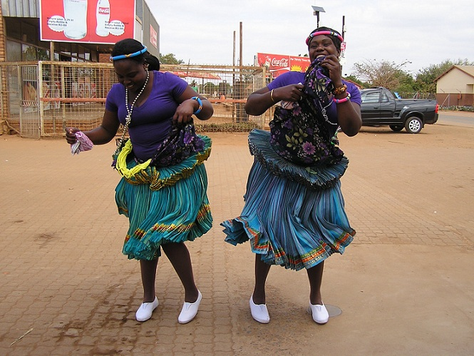 Shangaan-Tsonga dancers in traditional clothes