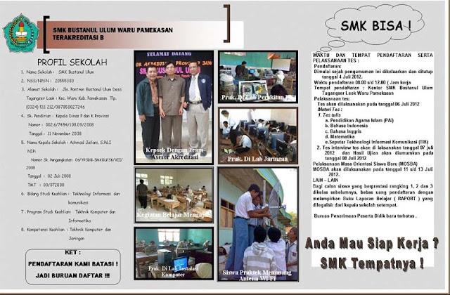 SMK Bustanul Ulum - Brosur Penerimaan Siswa Baru (PSB) Tahun 2012