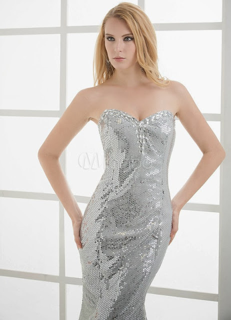 China Wholesale Clothes - Sheath Silver Sequined Beading Sweetheart Mermaid Sexy Prom Dress