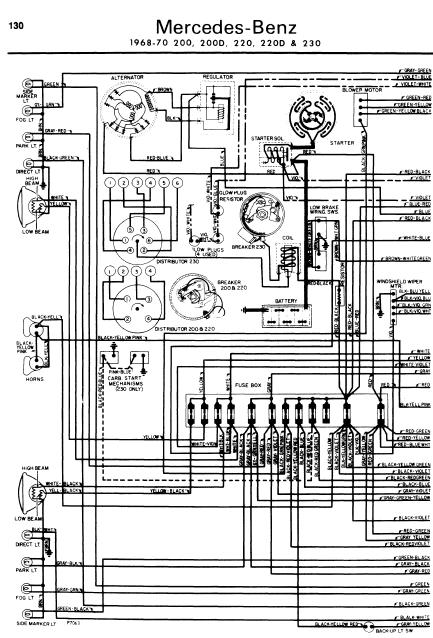 mercedesbenz_200230220_wiringdiagrams repair manuals mercedes benz 200 220 230 1968 70 wiring diagrams mercedes benz wiring diagrams free at bakdesigns.co