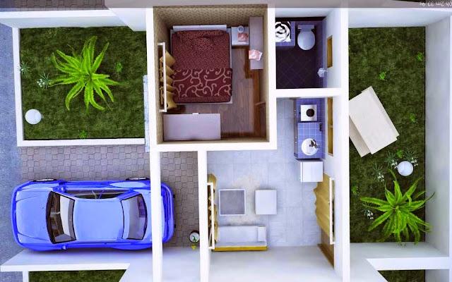 Denah interior rumah minimalis tipe 21