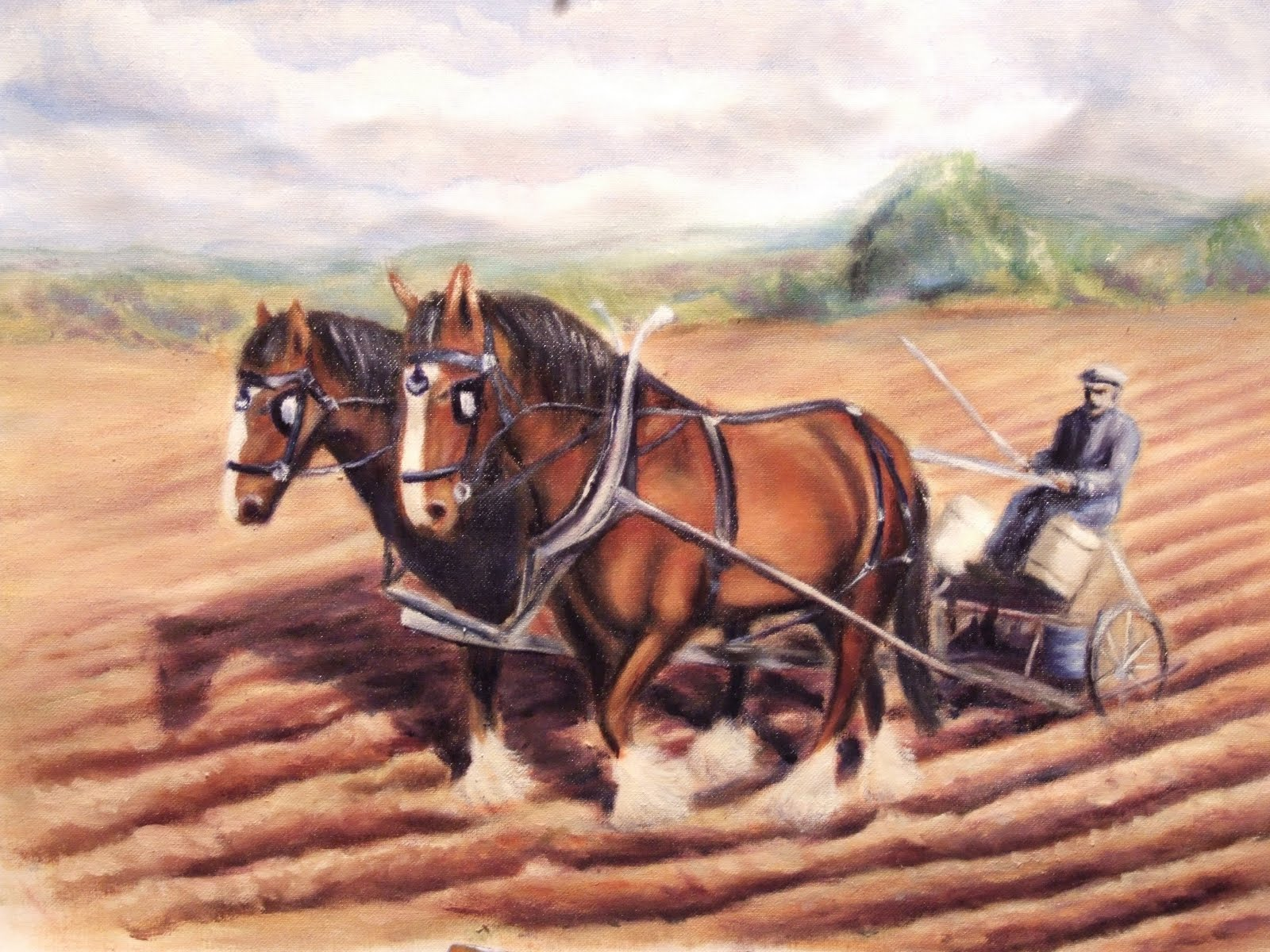Plough horse oil painting finished 