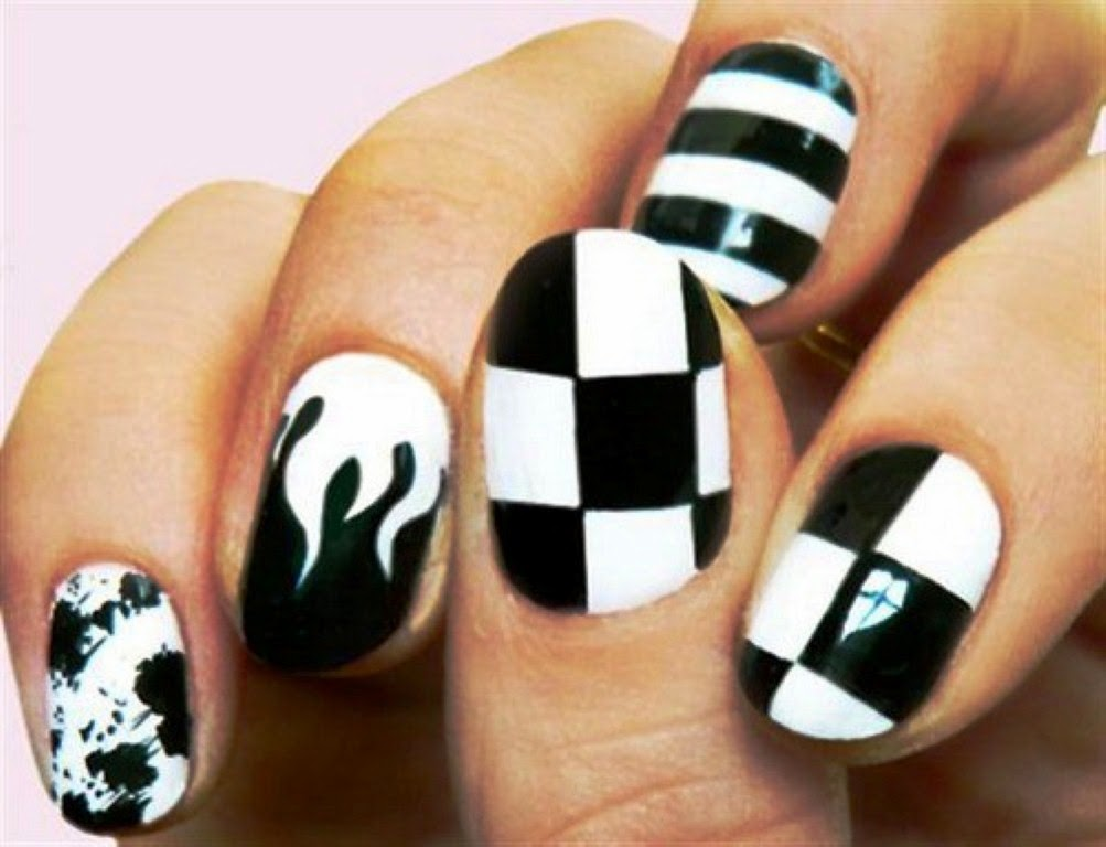 black and white nails designs, new nail designs , nails designs 2014