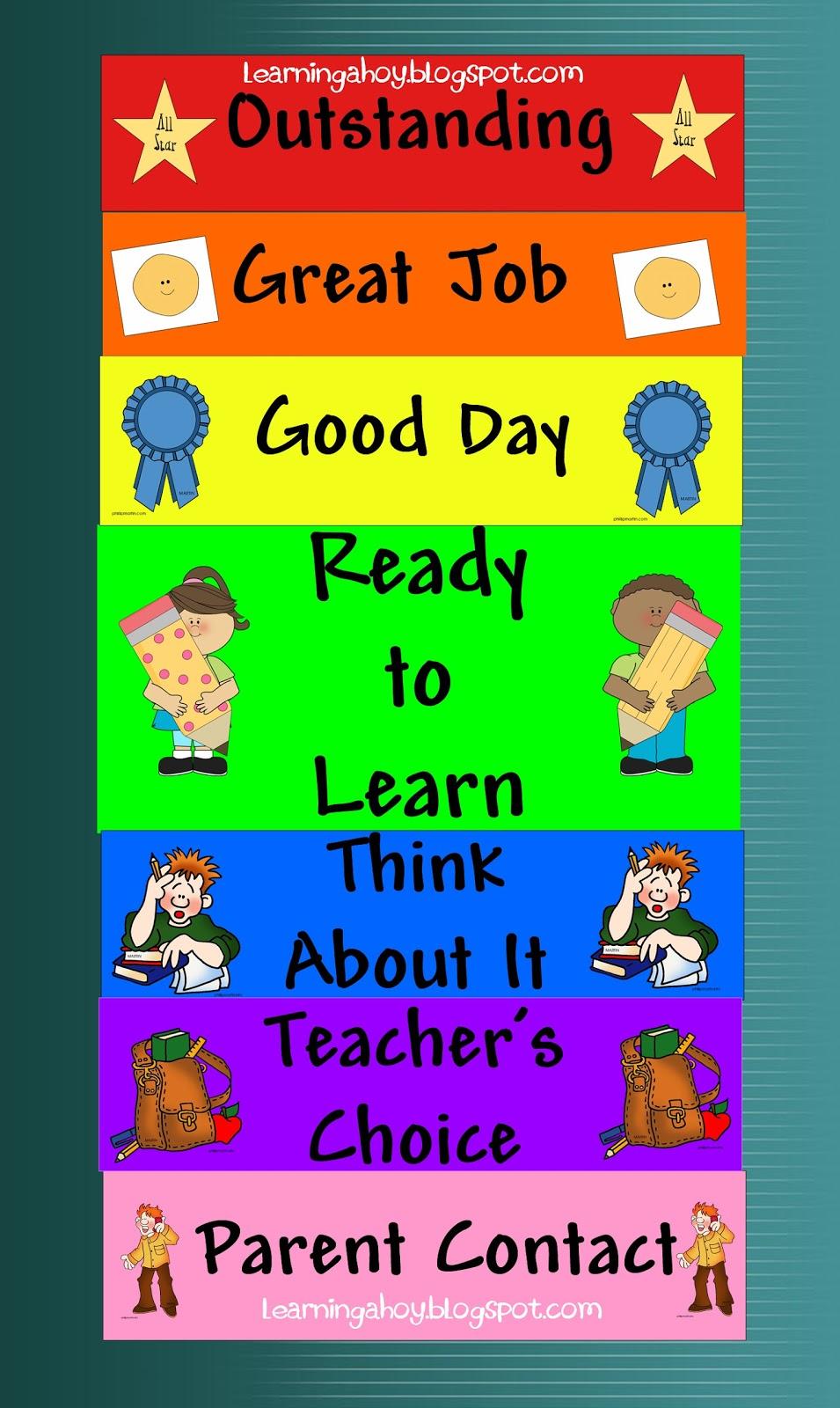 Classroom Punishment Ideas ~ Behavior chart freebie
