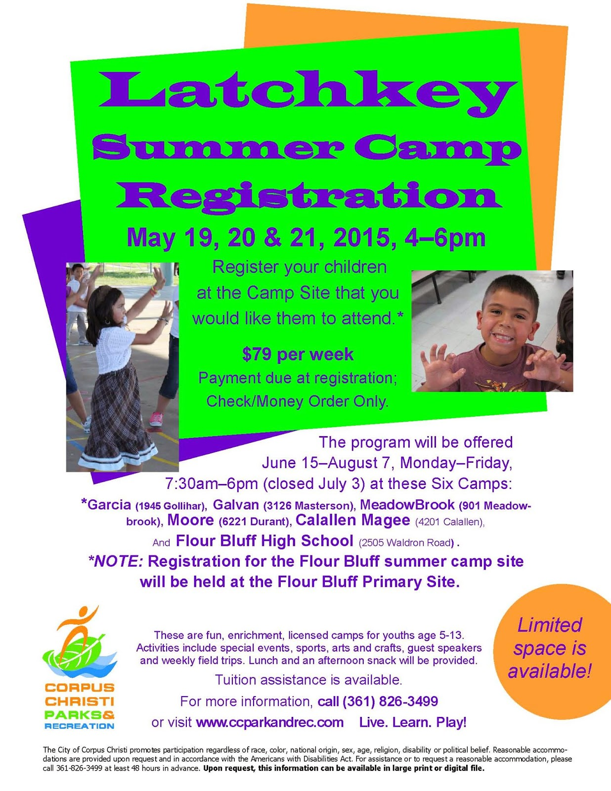 Corpus christi area summer camps 2015 corpus christi fun for kids must pay one week of tuition at the time of registration check or money order only on site for more information call 361 826 3499 or visit xflitez Gallery