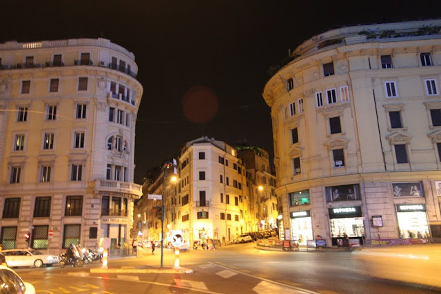 The busy nightlife in the city of Rome in Italy