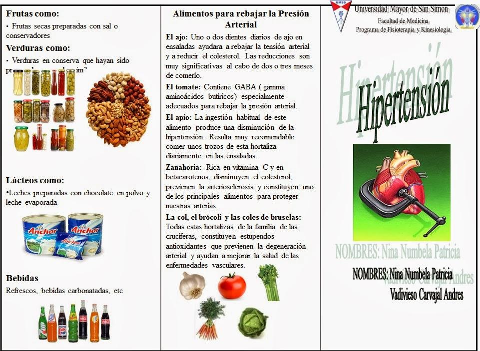 Hipertension hipertension triptico espa ol - Alimentos que bajen la tension ...