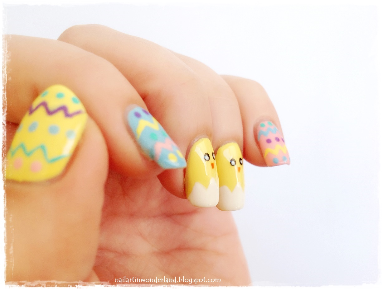 Civcivli Paskalya Tırnak Süslemesi / Easter Nail Art with Cute Chicks