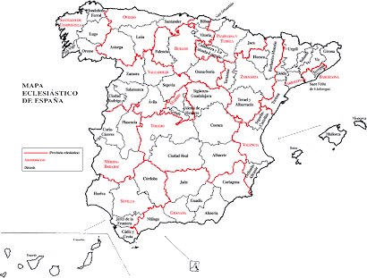 mapa de las diocesis