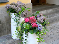 containers of flowers on a door stoop in Helsinki Finland