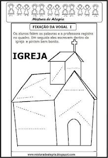 Desenho de igreja-escrever palavras