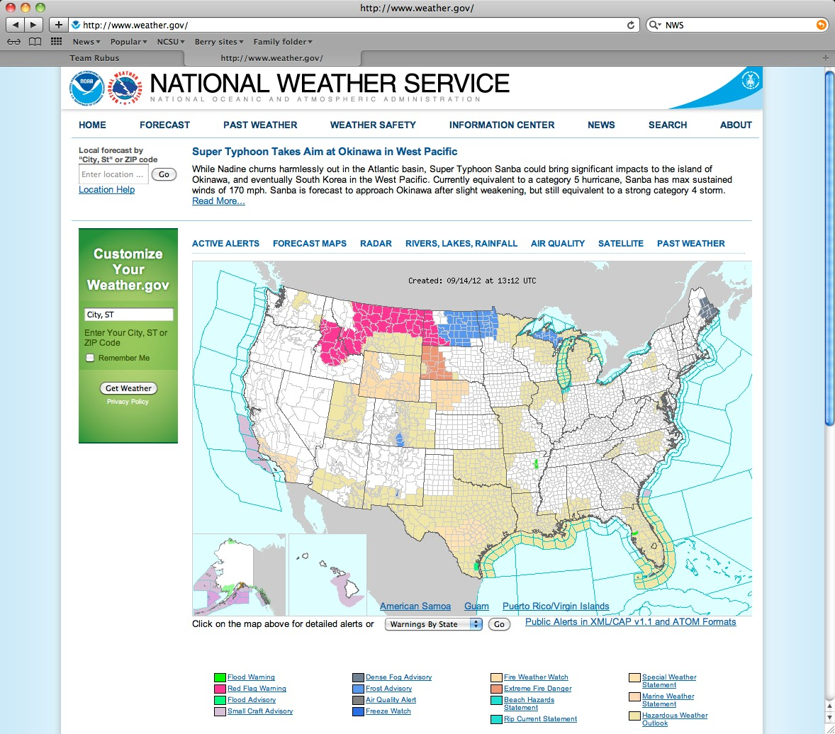 first i went to http www weather gov and saw the page below i clicked on central nc