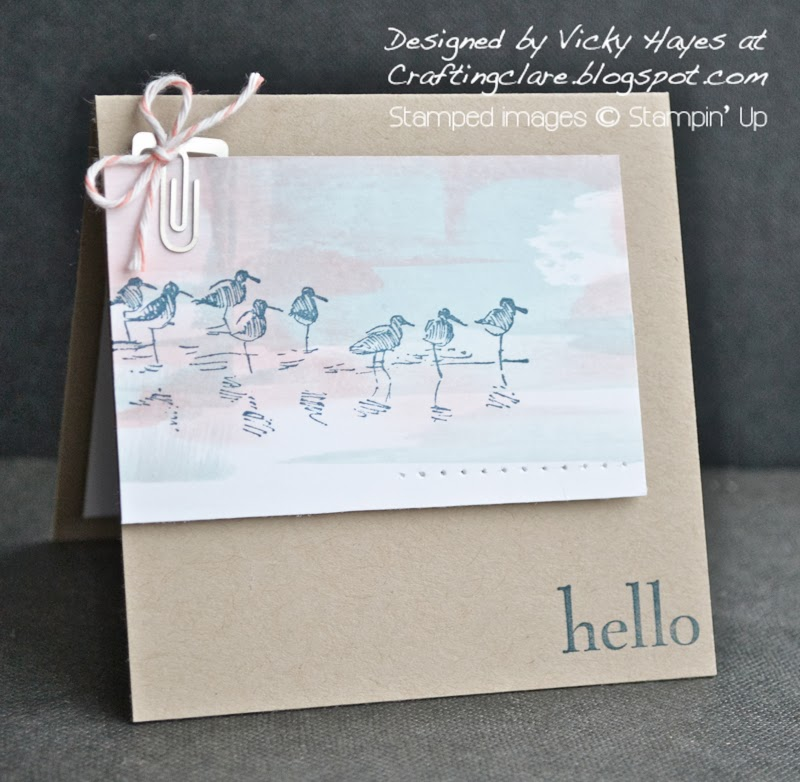 Crafting clare makes a card using Wetlands from Stampin' Up