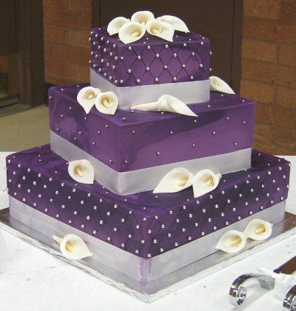 purple wedding cake with stairs