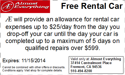 Coupon Free Rental Car October 2014