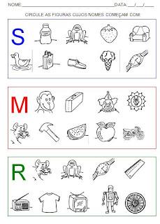 Atividades para alfabetização. Circule as figuras - Hipótese de escrita pré-silábica.
