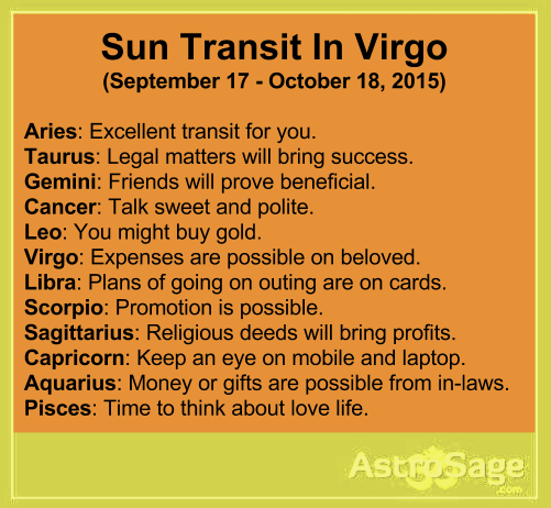 Sun transit in Virgo will affect your life directly or indirectly.