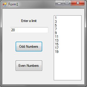 C# Generate Odd and Even Numbers