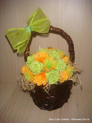 recykling,kwiaty z krepiny,róże ,bukiet,bejca
