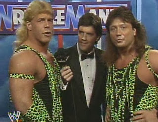 WWF / WWE - Wrestlemania 7: The Rockers speak to Sean Mooney before their match against Haku and The Barbarian